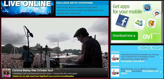 V Festival live webcast page